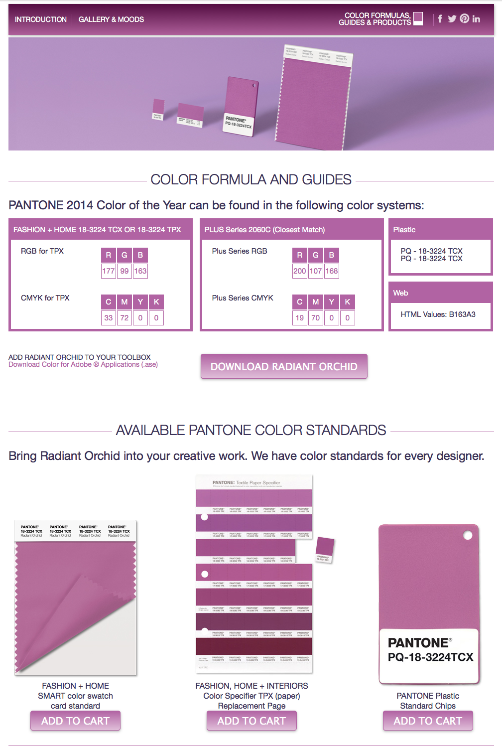 pantone radiant orchid color guide
